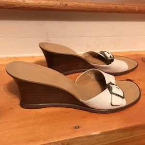 Used, PARADE White and Tan Mule Sandals for sale